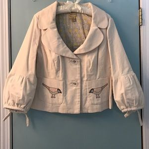 Cream jacket by Elevenses from Anthropologie